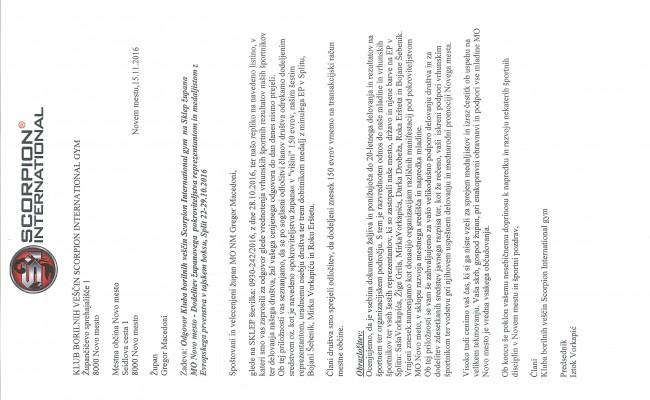 DODELITEV ŽUPANOVEGA  POKROVITELJSTVA REPREZENTANTOM IN MEDALJISTOM Z EVROPSKEGA PRVENSTVA V TAJSKEM BOKSU, SPLIT 22-29.10.2016